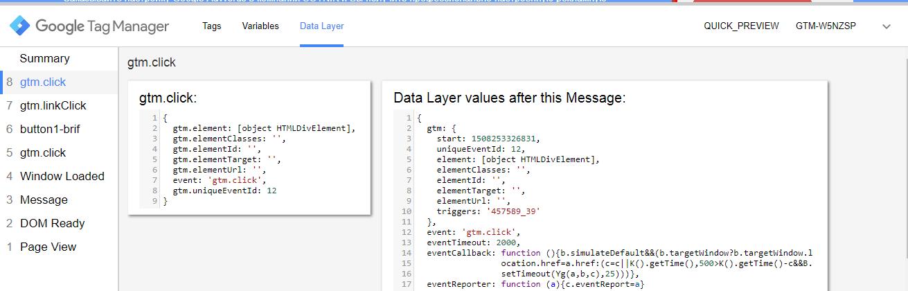 Вкладка data layer в отладчике диспетчера тегов