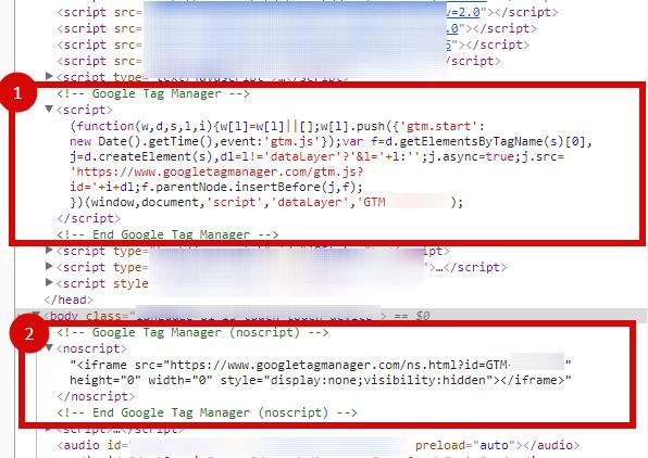 правильно установленный код диспетчера тегов на сайте