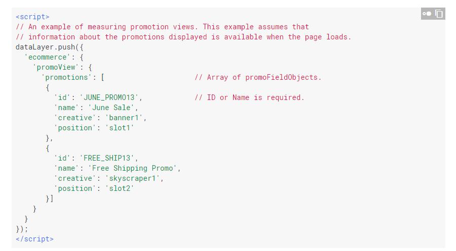 Пример кода для отслеживания донных о показах промо-баннеров