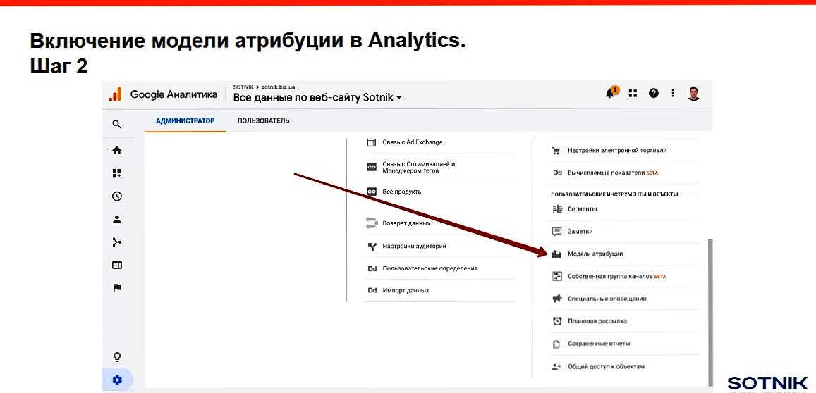 Подключить модель атрибуции в Google Analytics