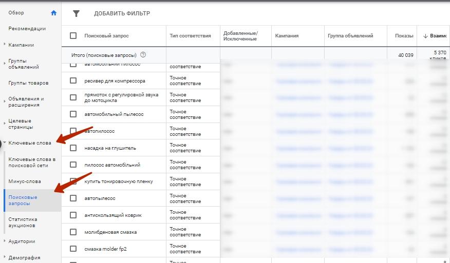 поисковые запросы в аккаунте Google Рекламы