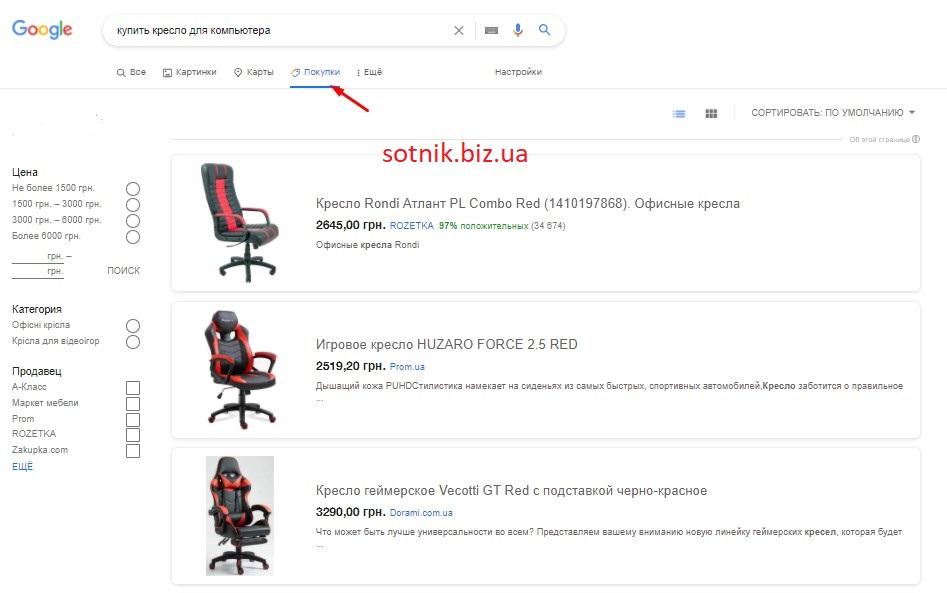 Как выглядят товарные объявления в разделе Google Shopping